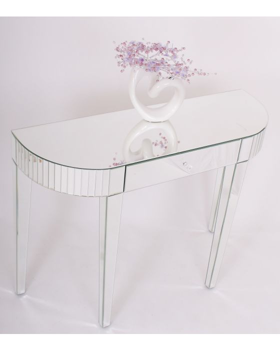 Clear Mirrored Bevelled Edge Console Table