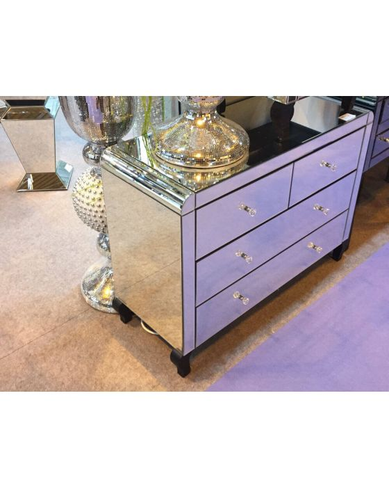 Clear Bevelled Edge Mirrored 2+2 Chest