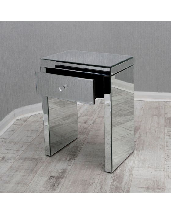 Clear Mirrored Lamp Table with Single Drawer