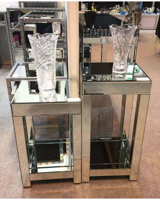 Clear Mirrored Lamp Table - Small, Medium Or Large