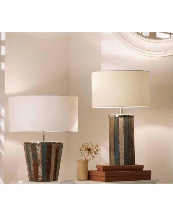 Coastal Distressed Wood Tall Table Lamp
