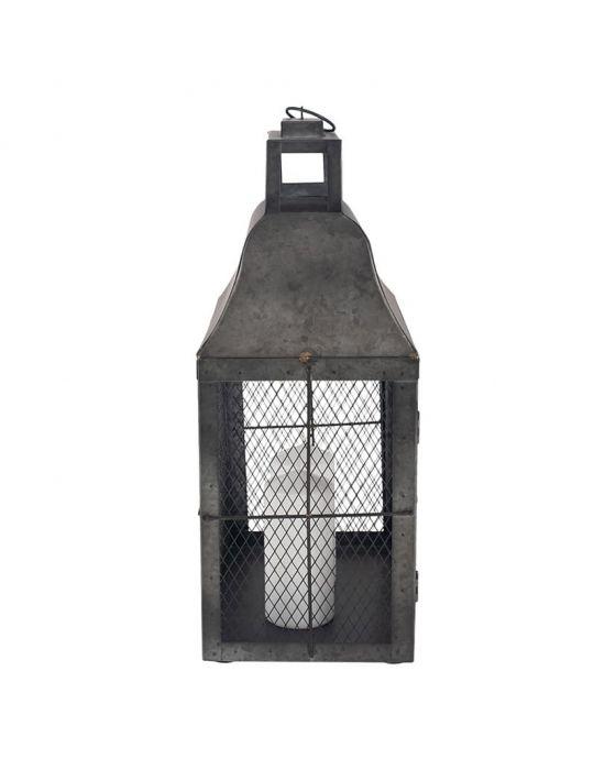 Dark Grey Galvanised Metal Oblong Candle Holder Lantern
