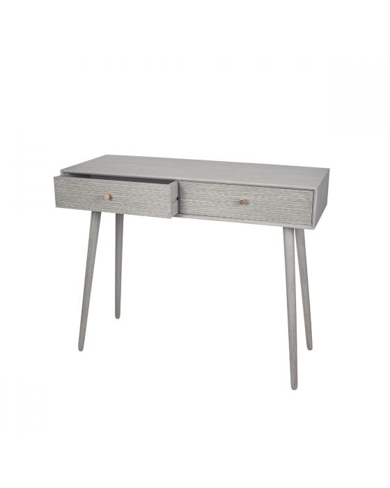 Dark Grey Pine Wood & Gold 2 Drawer Console Table