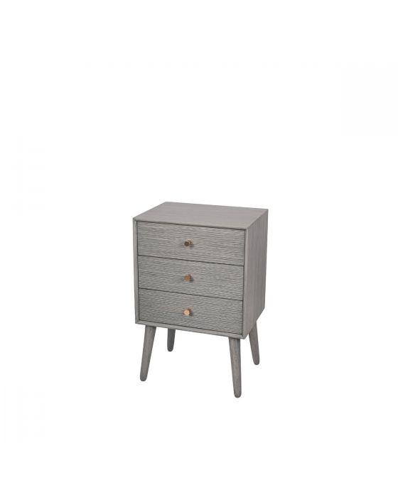 Dark Grey Pine Wood & Gold 3 Drawer Bedside Chest