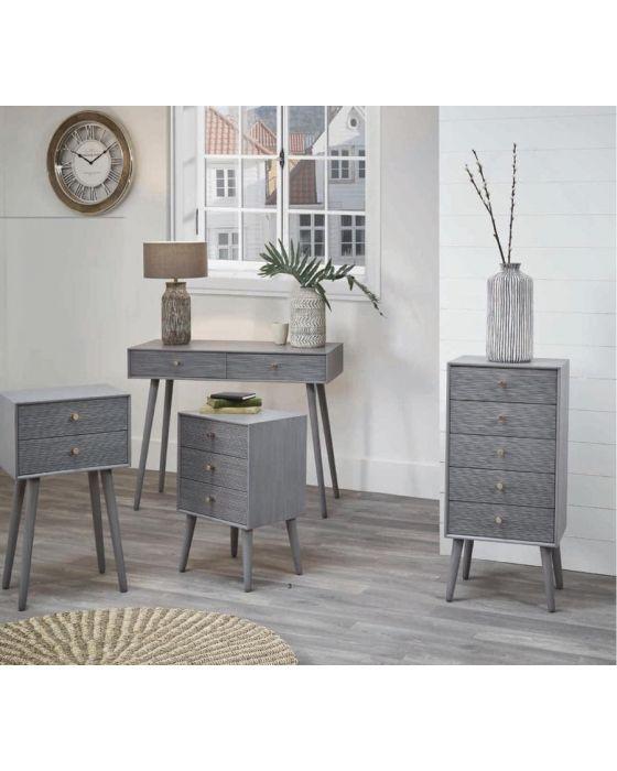 Dark Grey Pine Wood & Gold 2 Drawer Bedside Table