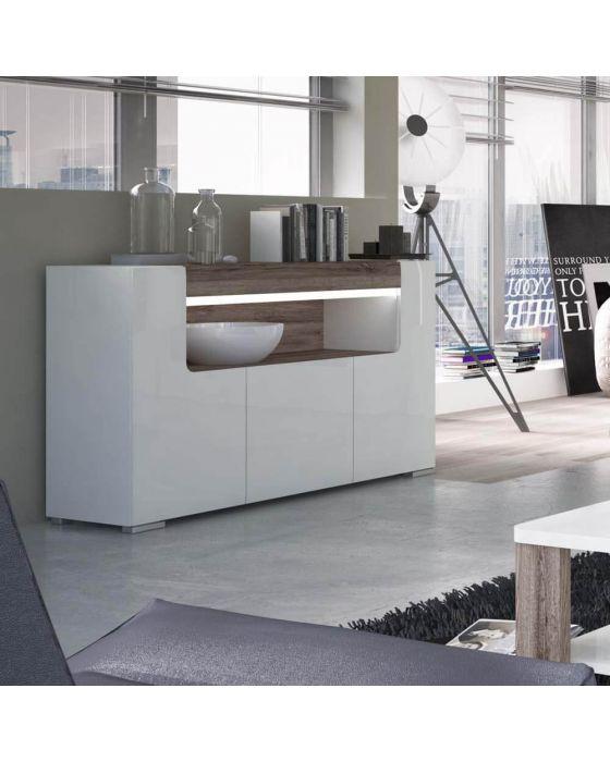 Designer Style White 3 Door Open Sideboard