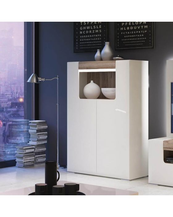 Designer Style White Low Glazed Sideboard