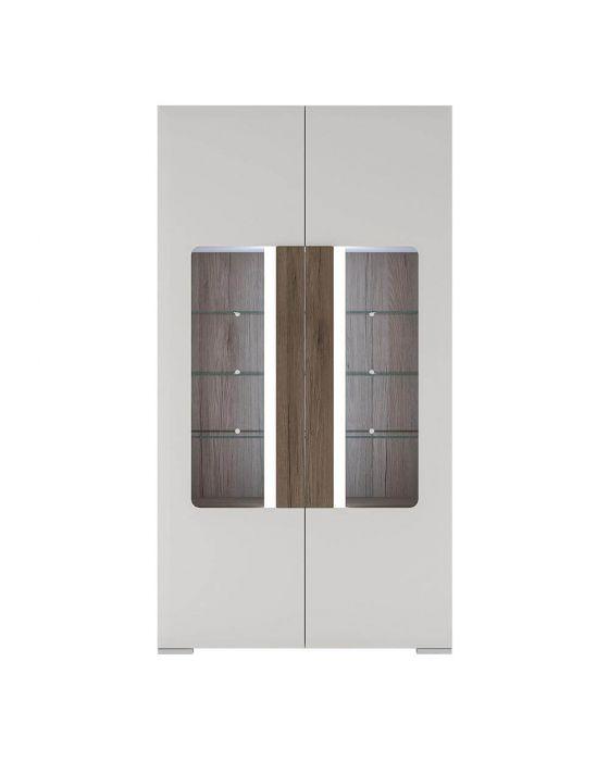 Designer Style White Tall Glazed Cabinet