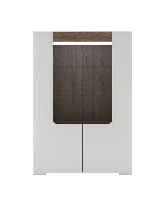 Designer Style White Low Open Glazed Cabinet