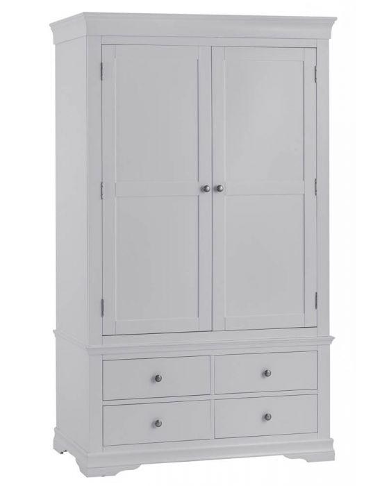 Edelmar Pine Grey 2 Door 4 Drawer Wardrobe