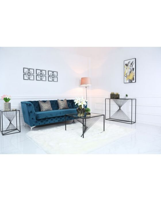 Erica Black Metal and Glass Console Table