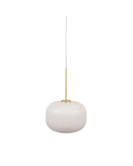 Fabio White Glass and Gold Metal Ribbed Squoval Pendant