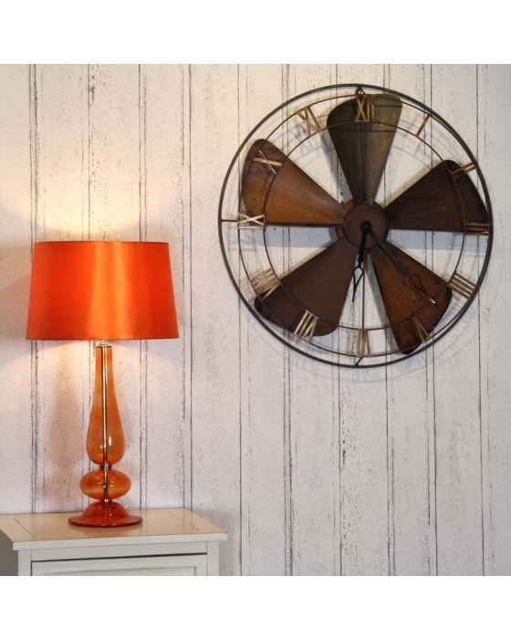 Fan Design Round Metal Wall Clock