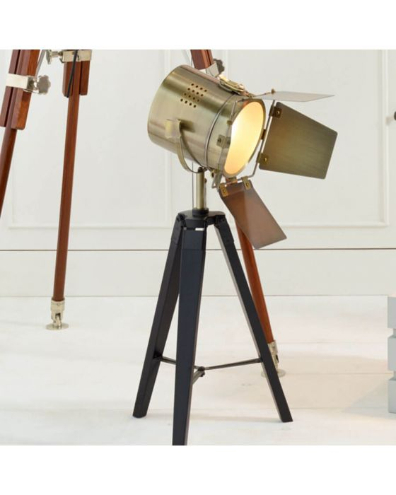 Film Style Black & Antique Brass Tripod Table Lamp