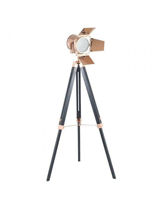 Film Style Copper Metal and Black Wood Tripod Floor Lamp
