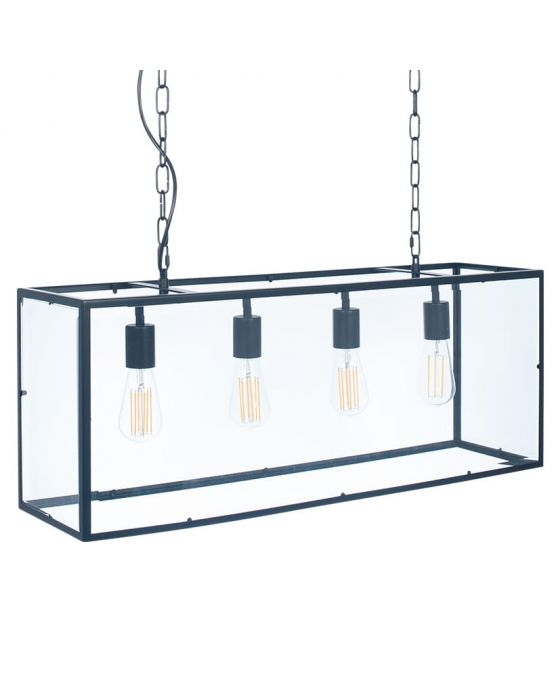 Fort Matt Black Metal & Glass Four Bulb Pendant