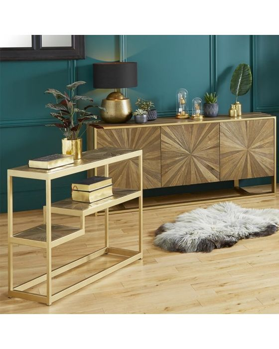 Forza Elm Wood and Iron Console Table