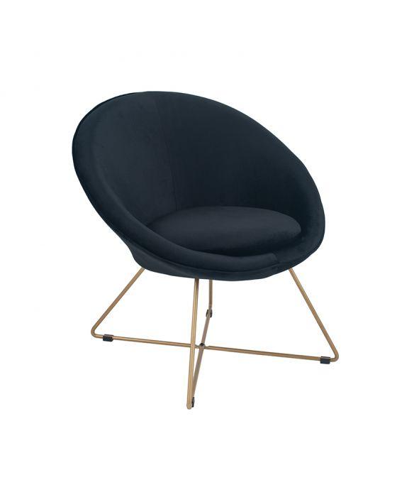 Galbraith Black Velvet Retro Chair with Gold Metal Legs