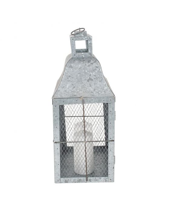 Galvanised Metal Oblong Candle Holder Lantern