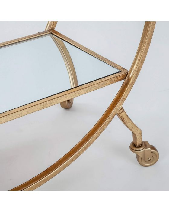Gin Shu Gold Metal Round 2 Tier Serving Trolley With Handle