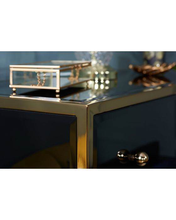 Glamour Black Glass and Gold 4 Drawer Chest