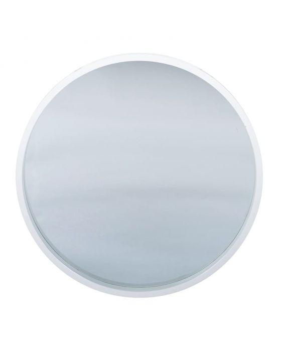 Gloria Glossy White Wood Round Wall Mirror