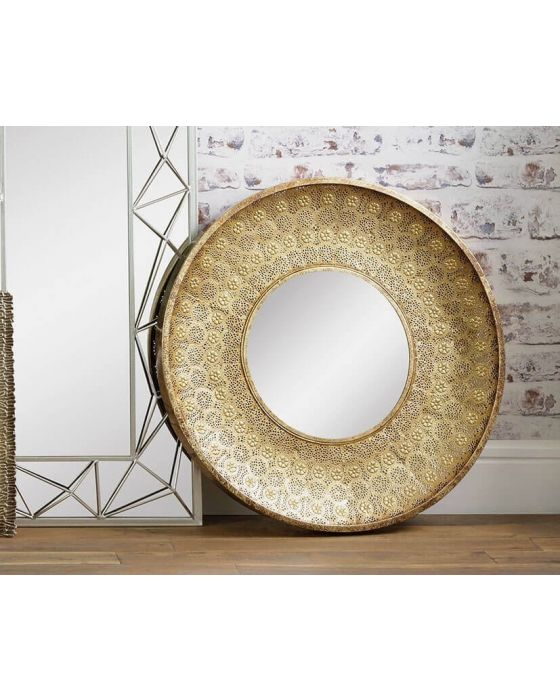 Gold Disc Metal Wall Mirror