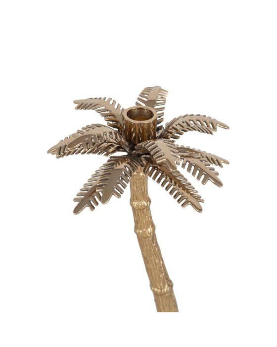 Gold Metal Palm Tree Candlestick