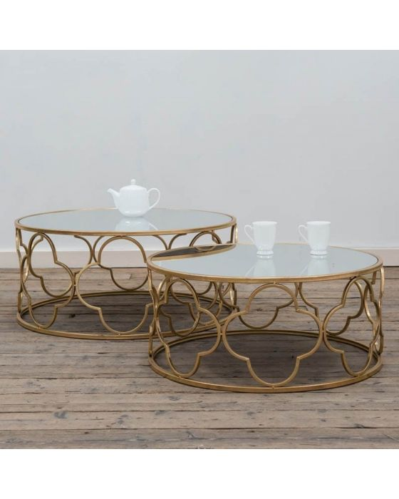 Gold Parisienne Metal Set of 2 Coffee Tables