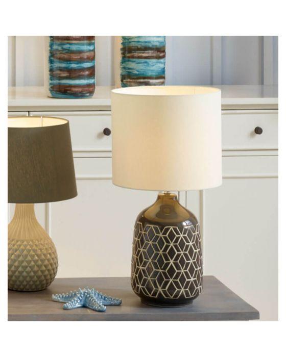 Grey Retro Geo Design Table Lamp