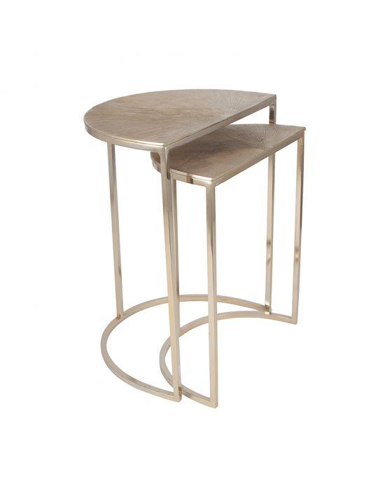 Greta Gold Metal Half Moon Set of 2 Tables