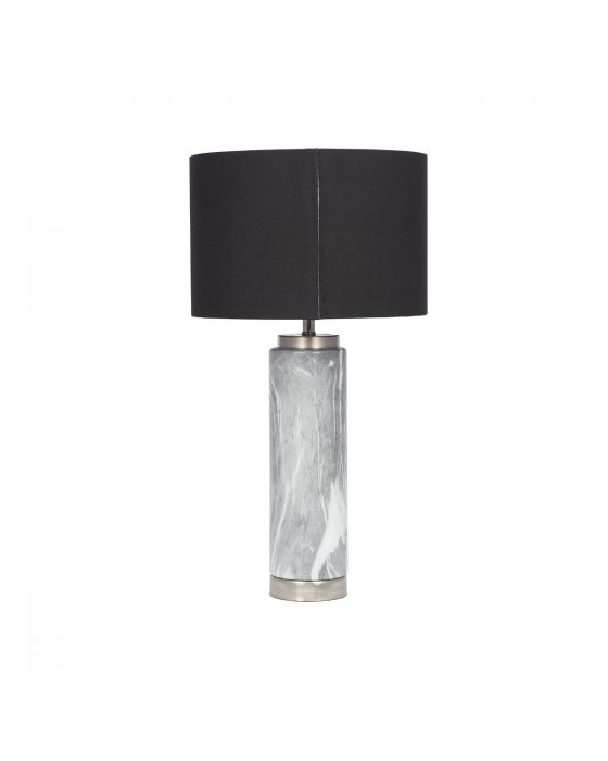 Grey Marble Effect Ceramic Table Lamp with Black Shade