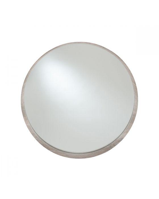 Grey Oak Veneer Round Wall Mirror