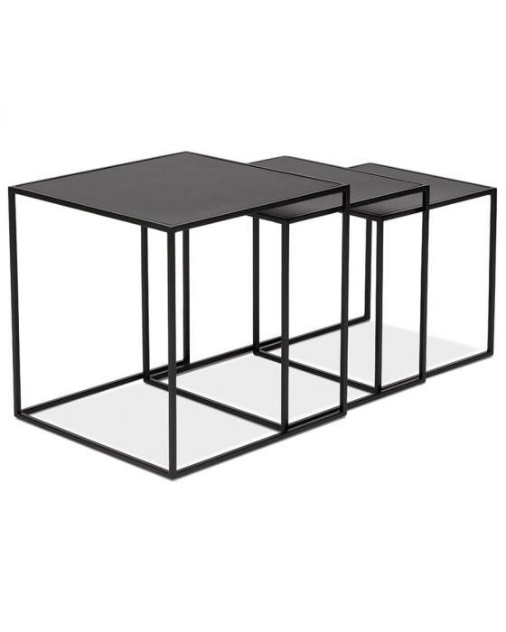 Gunborg Black Wood Top Set of 3 Nesting Tables