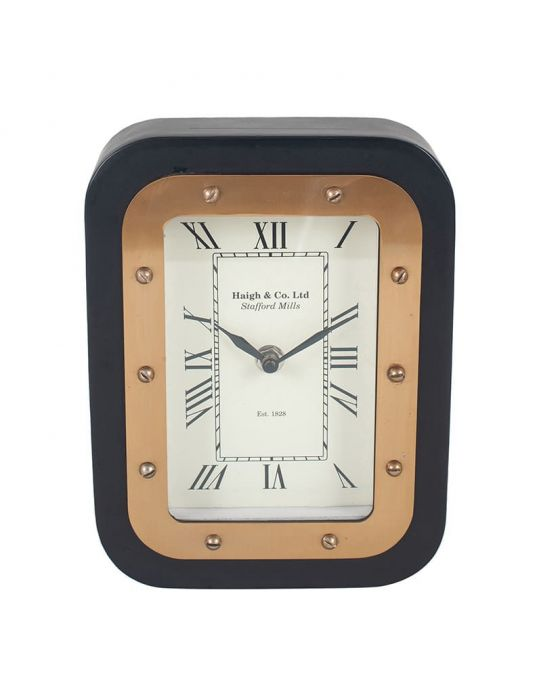 Haigh and Co Matt Black Wood & Gold Metal Desk Clock