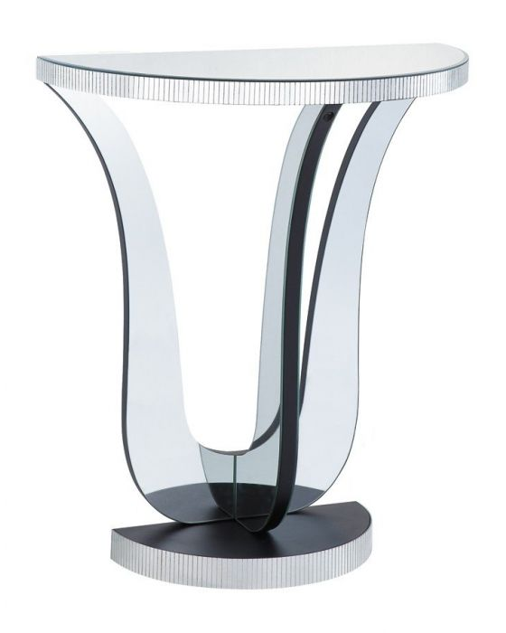 Half Moon/Design Clear Mirrored Console Table