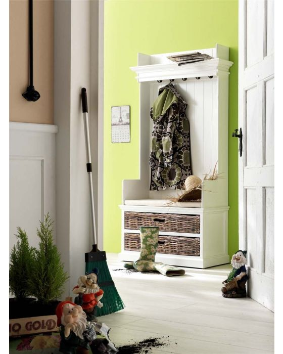 Halifax Entryway Coat Rack & Bench Unit With Rattan Baskets