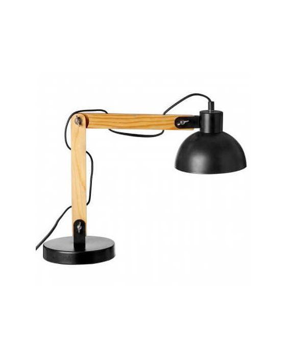 Hillary Black and Wood Adjustable Desk Lamp