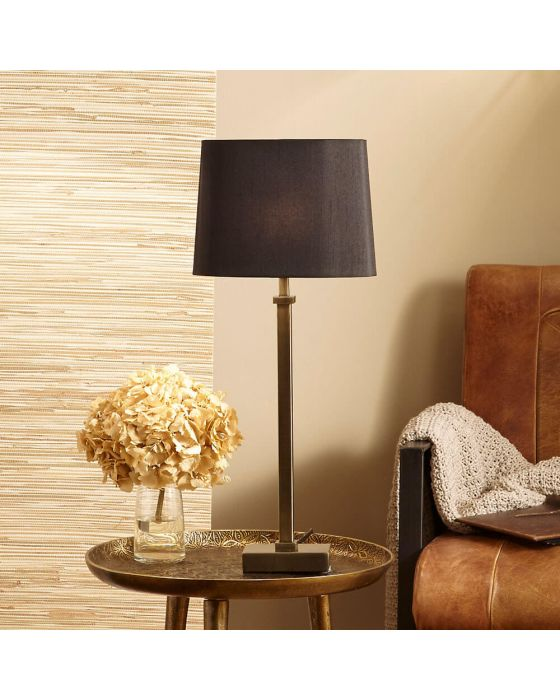 Hilton Antique Brass Metal Candlestick Table Lamp