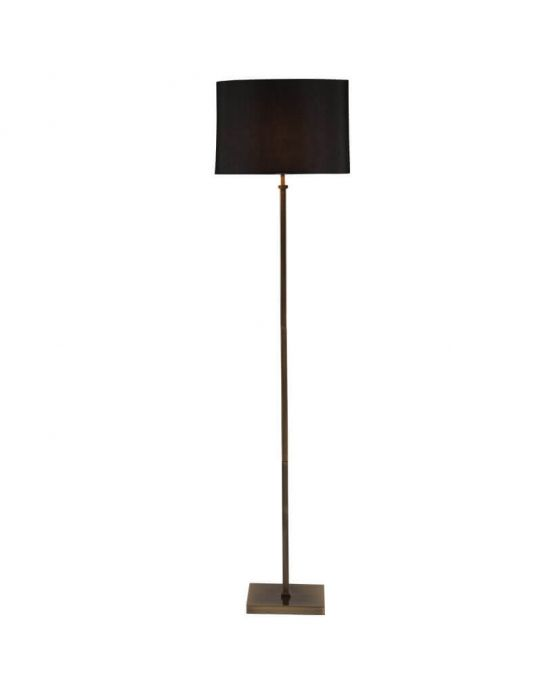Hilton Antique Brass Square Candlestick Floor Lamp with Black Shade
