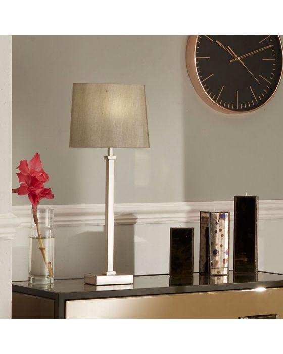 Hilton Satin Silver Metal Candlestick Table Lamp
