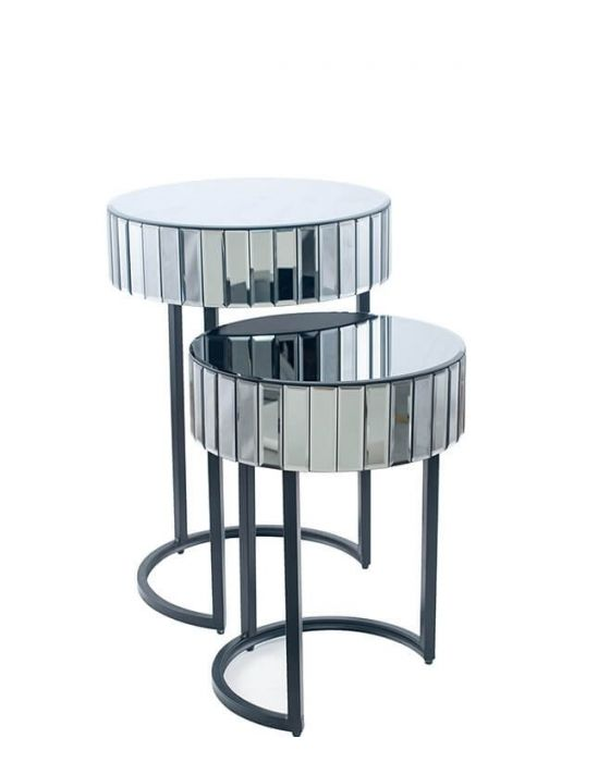 Hollywood Smoked Mirrored Set of Tables