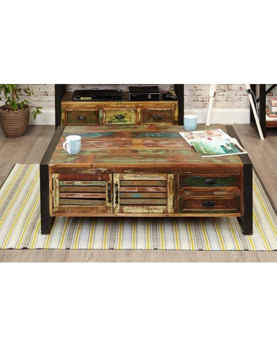 Industrial Reclaimed 4 Drawer Coffee Table