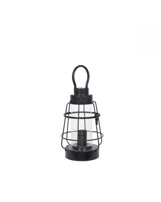 Industrial Black Metal & Clear Glass Oil Lantern Effect Table Lamp