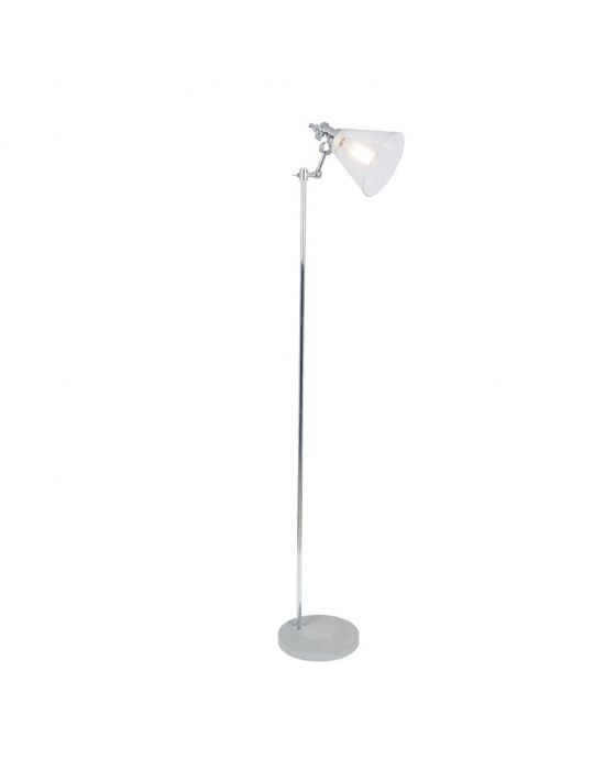 Industrial Concrete and Brushed Chrome Floor Lamp