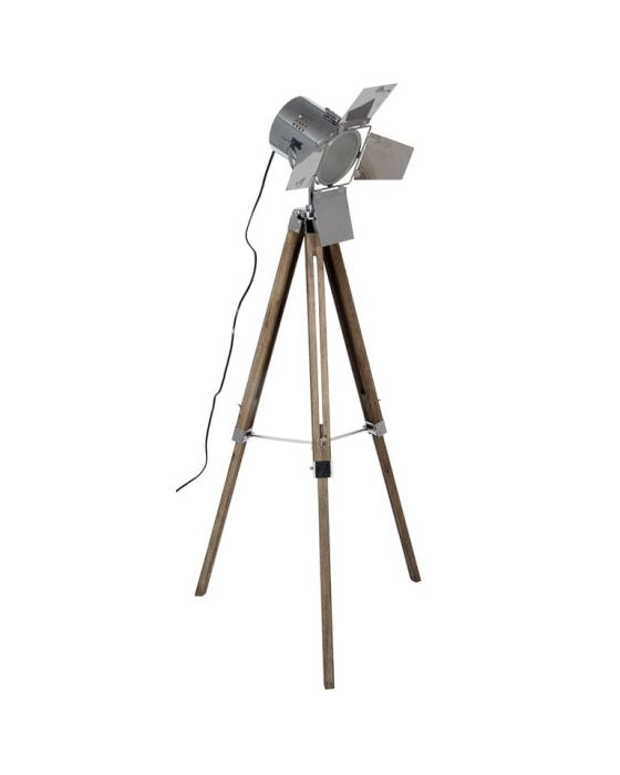 Industrial Film Style Wood and Chrome Floor Lamp