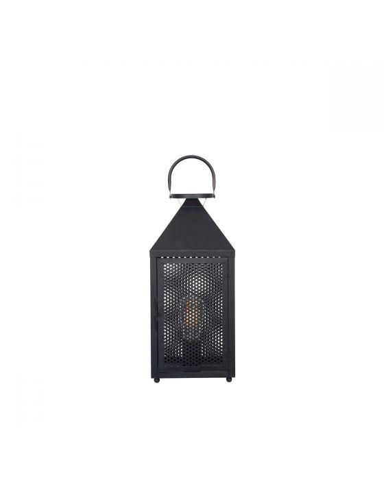 Industrial Matt Black Metal Punched Lantern Table Lamp