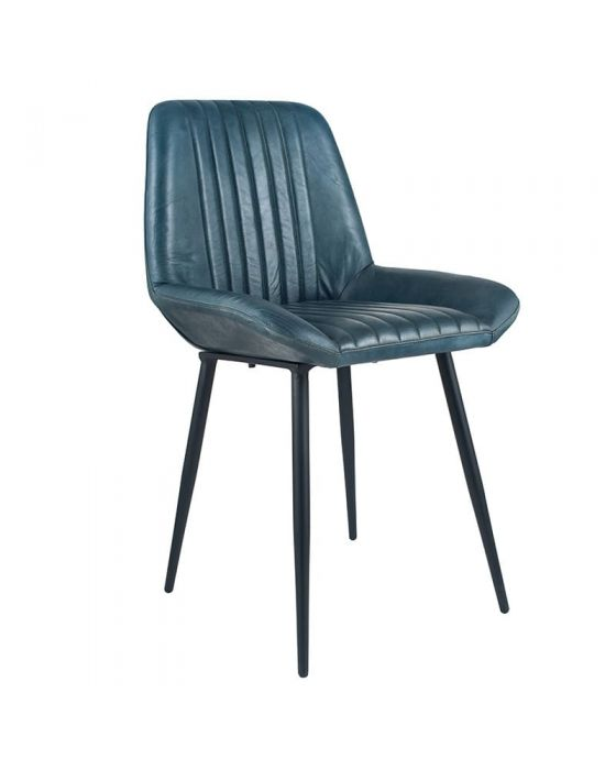 Industrial Prussian Blue Leather & Iron Dining Chair