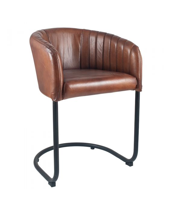 Industrial Vintage Brown Leather & Iron Curved Back Chair