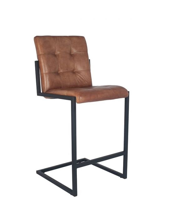 Industrial Vintage Brown Leather and Iron Buttoned Bar Stool